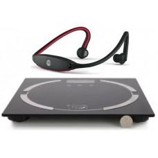 Bascula de Peso Corporal y Audifonos Inalambricos Bluetooth (Paquete Deportivo I)